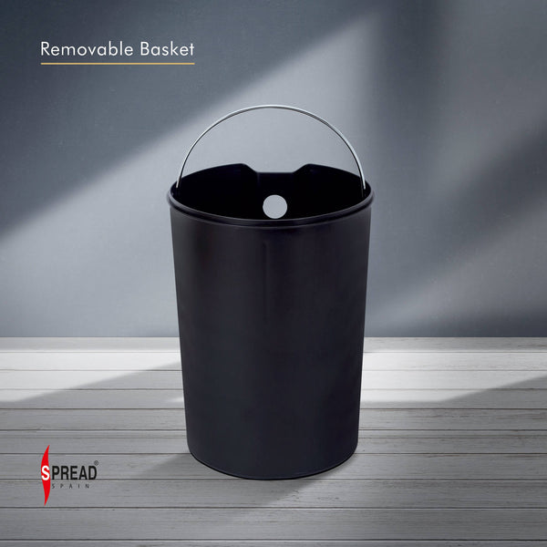 Stainless Steel 6 Litre - Black Pedal Dustbin with Plastic Bucket Inside