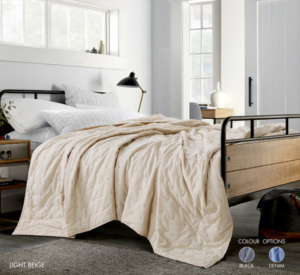 New York Washed Cotton Summer Quilt - Light Beige