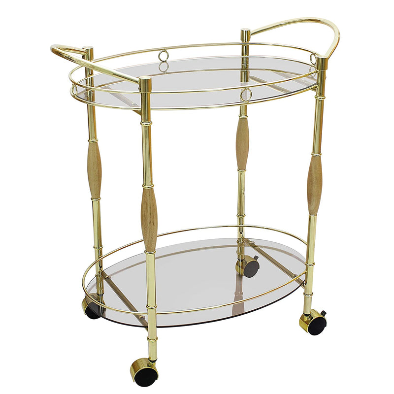 Metallic Gold Bar Serving Cart Trolley