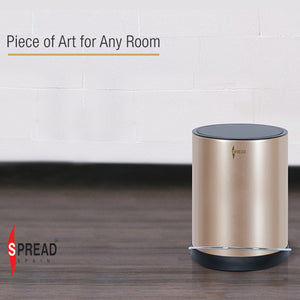 Stainless Steel 8 Litre - Gold Pedal Dustbin with Plastic Bucket Inside