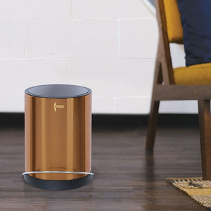 Stainless Steel 8 Litre - Luxury Gold Pedal Dustbin with Plastic Bucket Inside