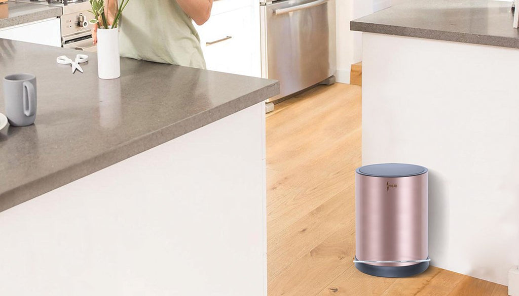 Stainless Steel 8 Litre - Rose Gold Pedal Dustbin with Plastic Bucket Inside