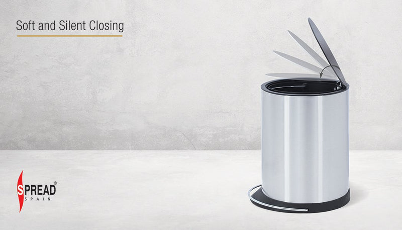 Stainless Steel 8 Litre - White Pedal Dustbin with Plastic Bucket Inside