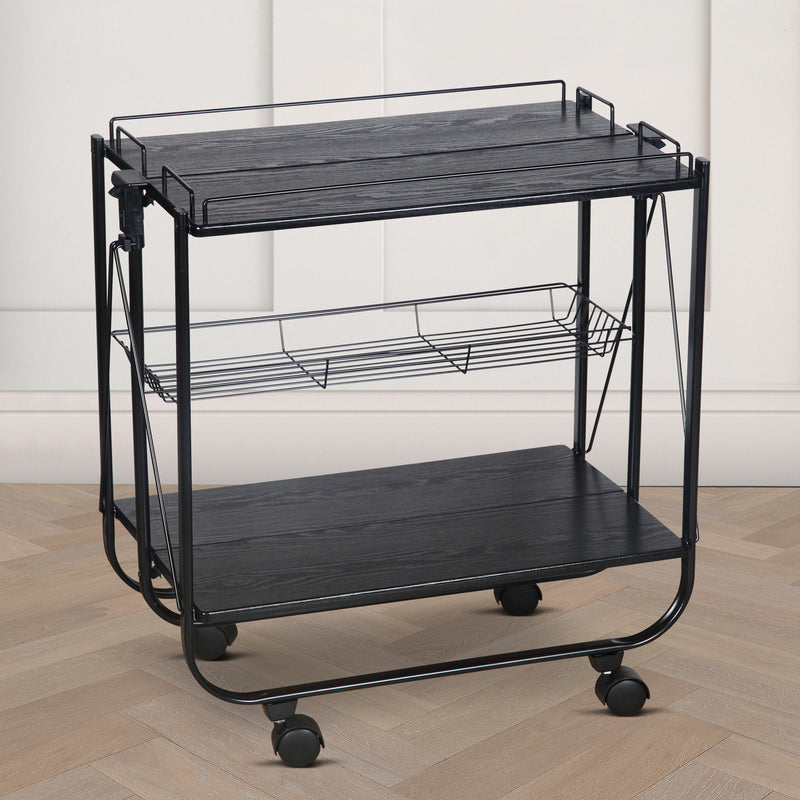 Foldable Wooden Service Trolley - Black