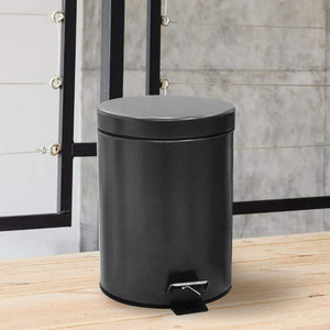 Stainless Steel 5 Litre - Black Soft Close Pedal Dustbin Matte Finish with Plastic Bucket inside