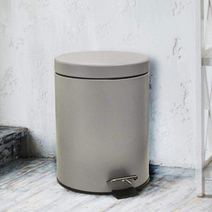 Stainless Steel 5 Litre - Grey Soft Close Pedal Dustbin Matte Finish with Plastic Bucket inside