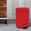 Stainless Steel 5 Litre - Red Soft Close Pedal Dustbin Matte Finish with Plastic Bucket inside
