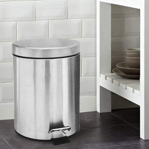 Stainless Steel 5 Litre - Silver Soft Close Pedal Dustbin Matte Finish with Plastic Bucket inside