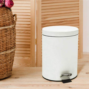 Stainless Steel 5 Litre - White Soft Close Pedal Dustbin Matte Finish with Plastic Bucket inside