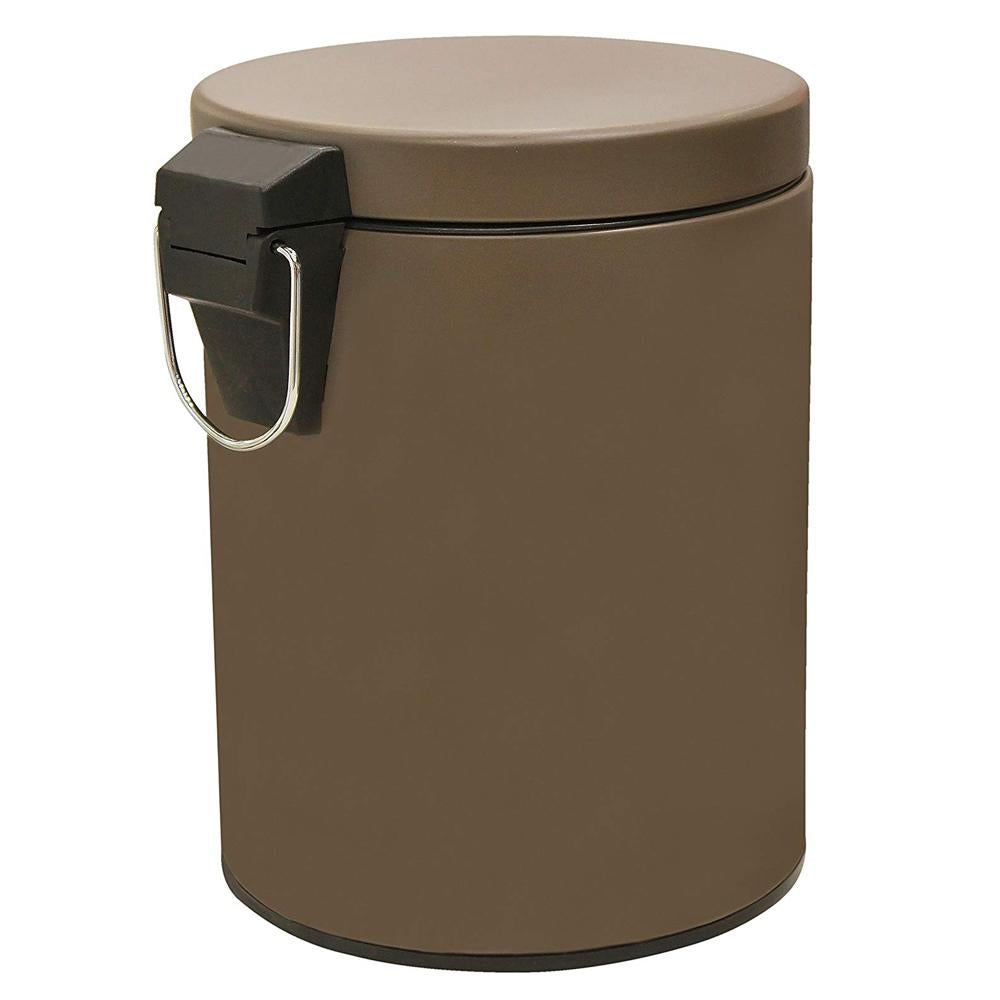 Stainless Steel 5 Litre - Brown Soft Close Pedal Dustbin Matte Finish with Plastic Bucket inside