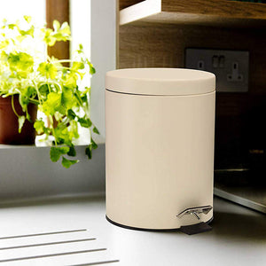 Stainless Steel 5 Litre - Off White Soft Close Pedal Dustbin Matte Finish with Plastic Bucket inside