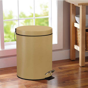 Stainless Steel 5 Litre - Sand Soft Close Pedal Dustbin Matte Finish with Plastic Bucket inside