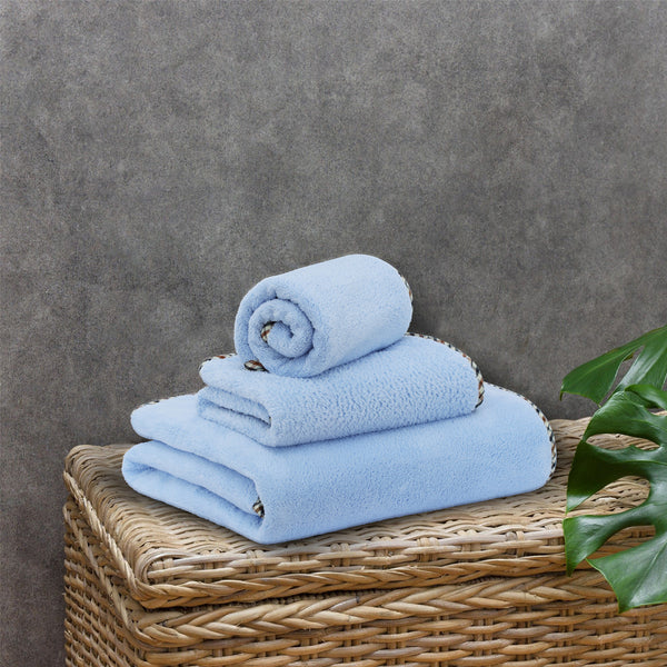 Coral Towel - 3 Pcs Towel Set - Light Blue (High Absorbent & Super Soft)