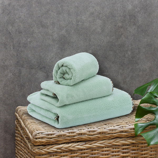 Coral Towel - 3 Pcs Towel Set - Olive (High Absorbent & Super Soft)