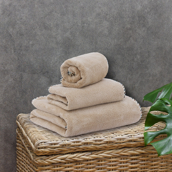 Coral Towel - 3 Pcs Set - Sand (High Absorbent & Super Soft)