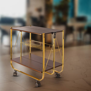 Wooden Fordable Service Trolley With Metal Frame - Coffee