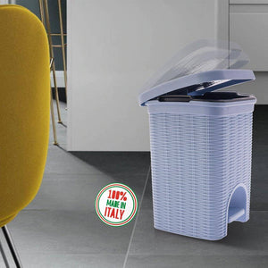 Elegance - Blue 6 Litre Pedal Dustbin with Plastic Bucket Inside for Home, Kitchen, Office use