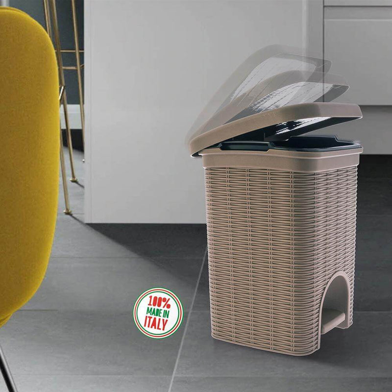 Elegance - Brown 6 Litre Pedal Dustbin with Plastic Bucket Inside for Home, Kitchen, Office use