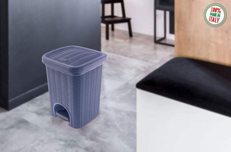 Elegance - Navy Blue 6 Litre Pedal Dustbin with Plastic Bucket Inside for Home, Kitchen, Office use