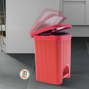 Elegance - Red 6 Litre Pedal Dustbin with Plastic Bucket Inside for Home, Kitchen, Office use