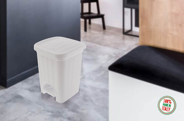 Elegance - White 6 Litre Pedal Dustbin with Plastic Bucket Inside for Home, Kitchen, Office use