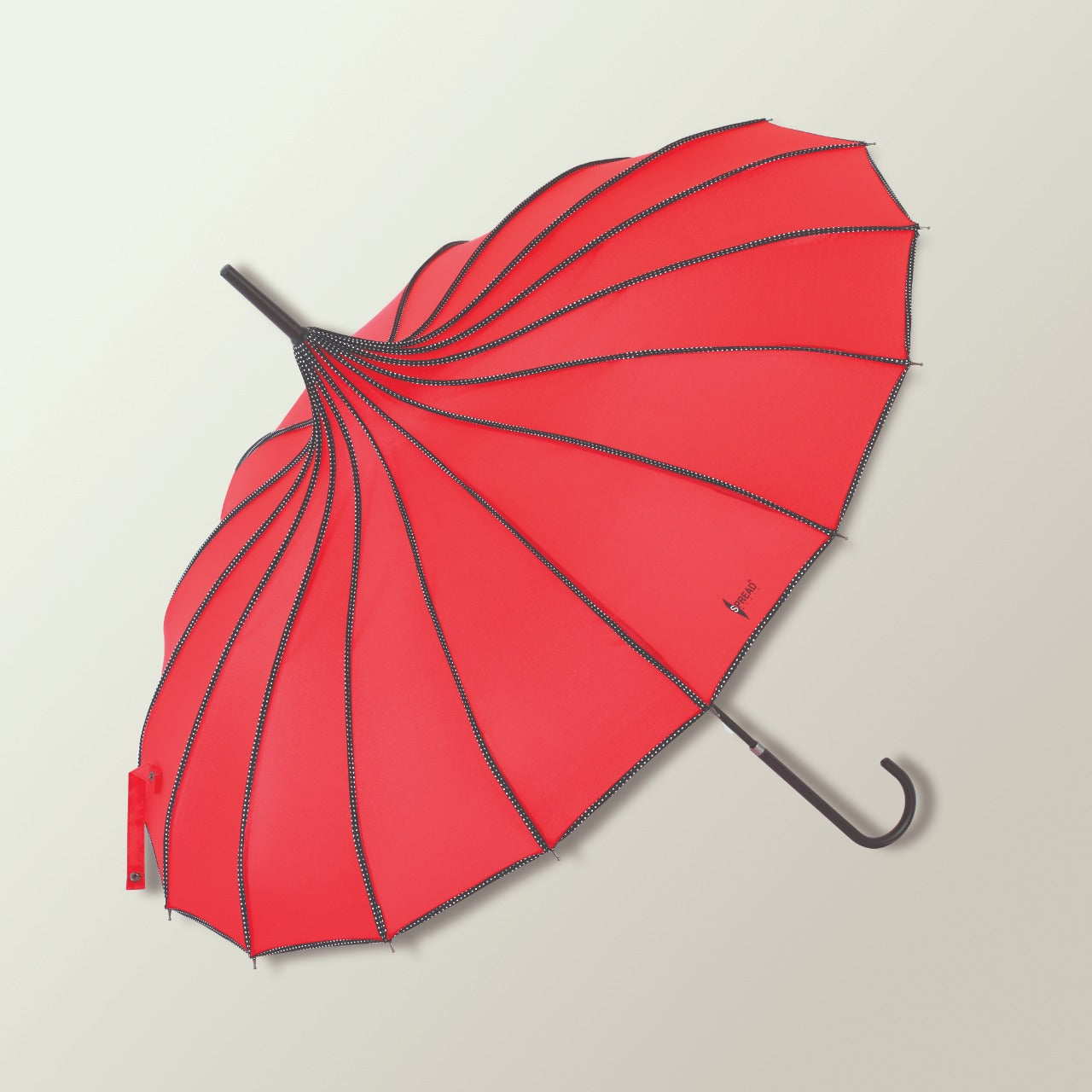 Pagoda Shaped Long Umbrella - Red