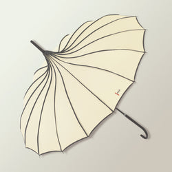 Japanese Pagoda Shaped Long Umbrella - Cream