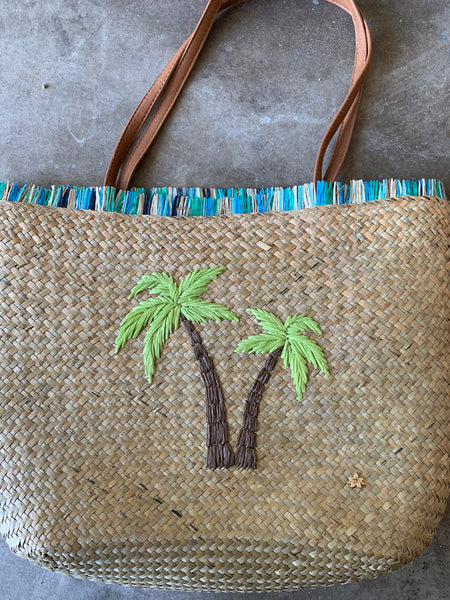 Seagrass  Tote Bag with palm Tree