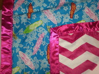 Surf Print baby blanket Chevron  w/ Girls in the Curl Turquoise