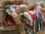 Tropical pillows with faux raffia cranberry