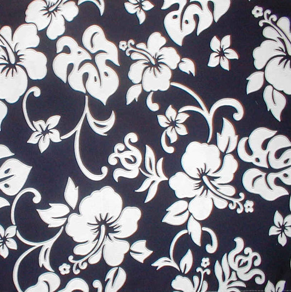 Hawaiian baby blanket navy blue and white hibiscus  flowers