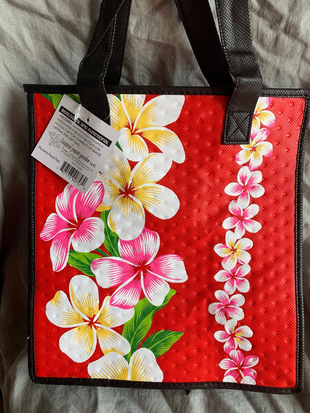 Medium Reusable bag Plumeria Panel Red