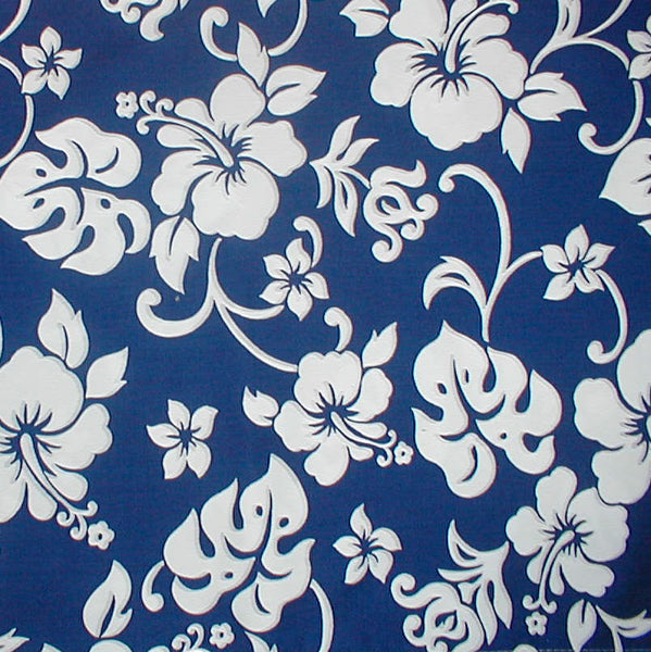 Bedspread Royal & White Hibiscus