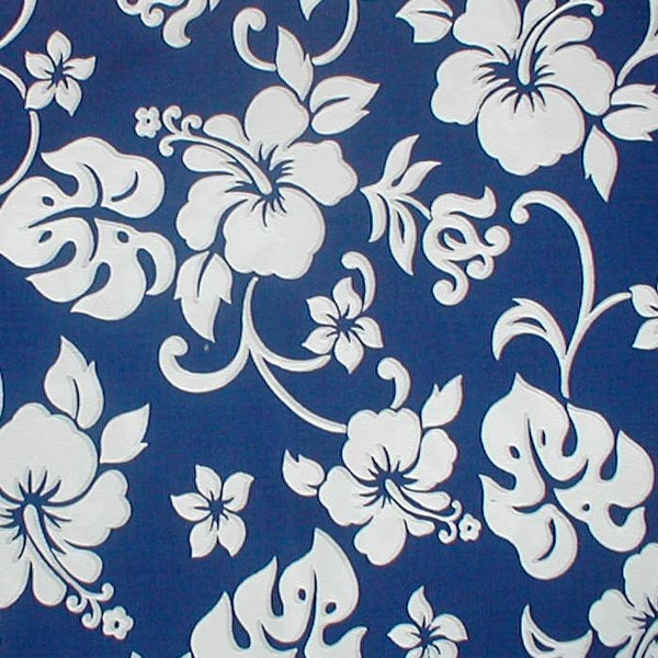 Hawaiian bed skirt Hawaiian flowers royal and white