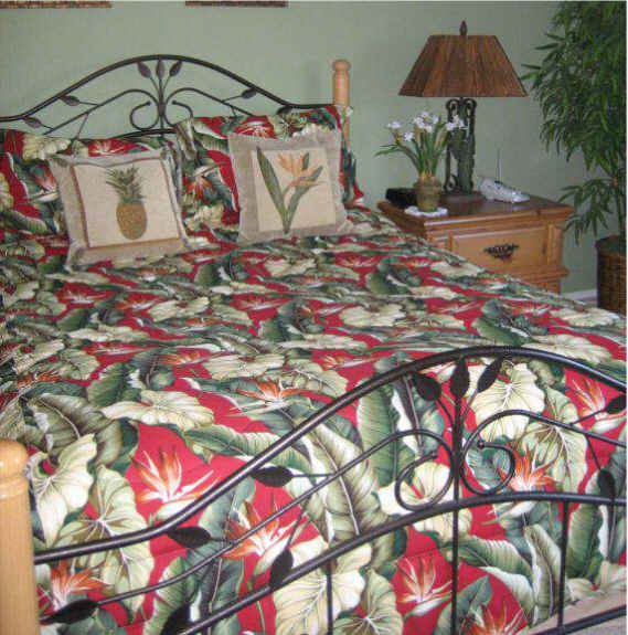 Comforter Tropical Bedding Tropical Leaves Cranberry
