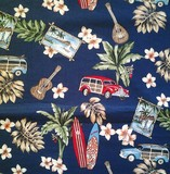 Hawaiian print shower curtain Around the Island Navy