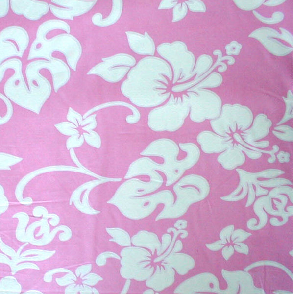 Bolster pillow Hawaiian print pink and white hibiscus