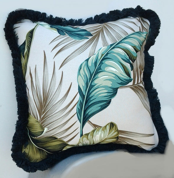 tropical throw pillow, tropical leaves in teal blue