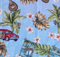 bedspread Hawaiian Around the Island Blue