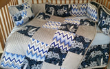 Coverlet Patchwork style blue Gray Surfboards