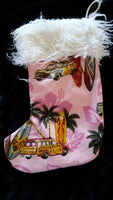 surfer girl christmas stocking pink woody car design