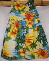 Hawaiian print girls dress, orange and yellow hibiscus flowers