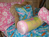 Girls in the curl Fushia Pillow with Raffia Trim