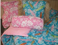 pillow Beach print  Grls in the Curl Turquoise with Raffia
