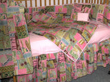 Cute Hawaiian print Crib bedding Set pink and brown.