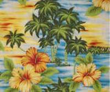 colorful Hawaiian fabric, yellow and orange Hibiscus flowers, lime green palm trees