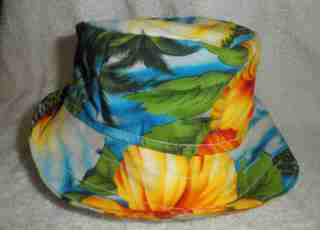 floppy hat, colorful hawaiian fabric, protect your baby from the sun