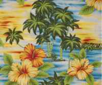 Hawaiian print curtain, colorful island scene, yellow and orange hibiscus flowers, lime green palm trees