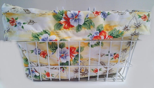 Bike Basket liner Lahaina Palms Yellow