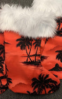 Coastal Christmas stocking  Kona Palms Red